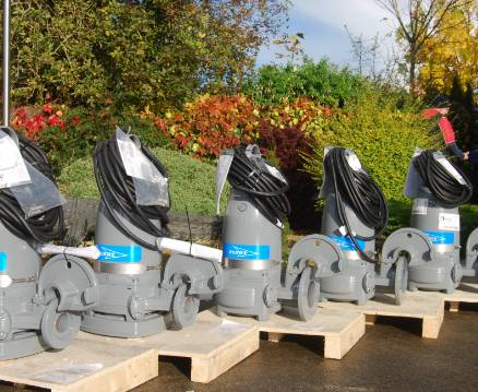 A row of newly manufactured Campion pumps