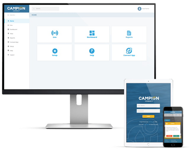 Mockups of Campion Connect App across different devices