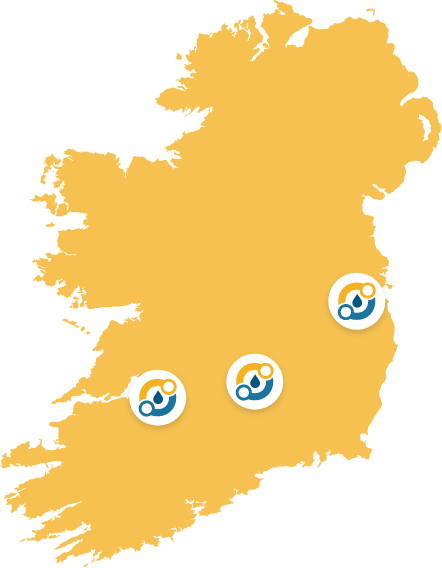 Map of Ireland highlighting Campions office locations