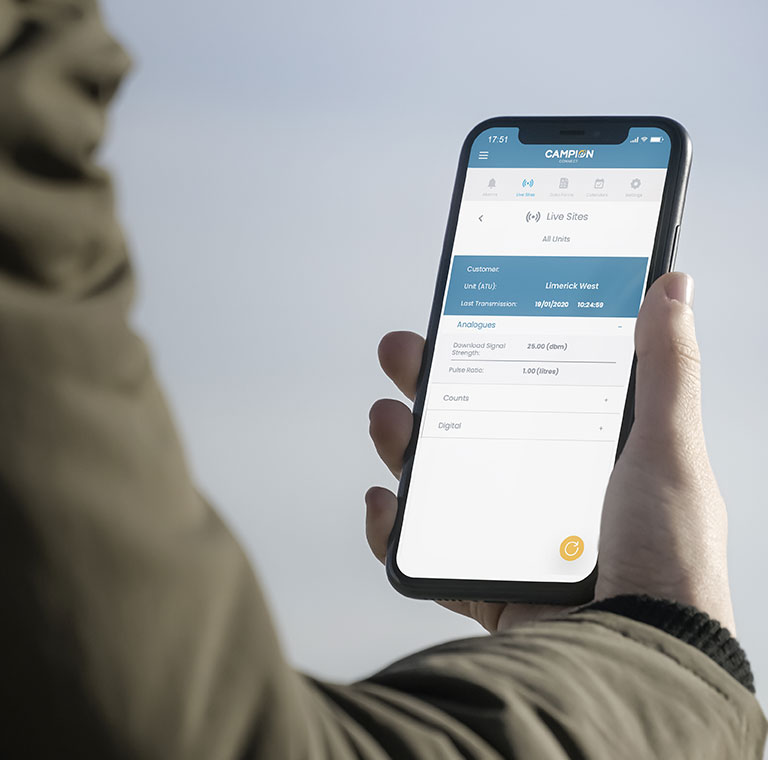 Mockup image of a person using the Campion mobile app