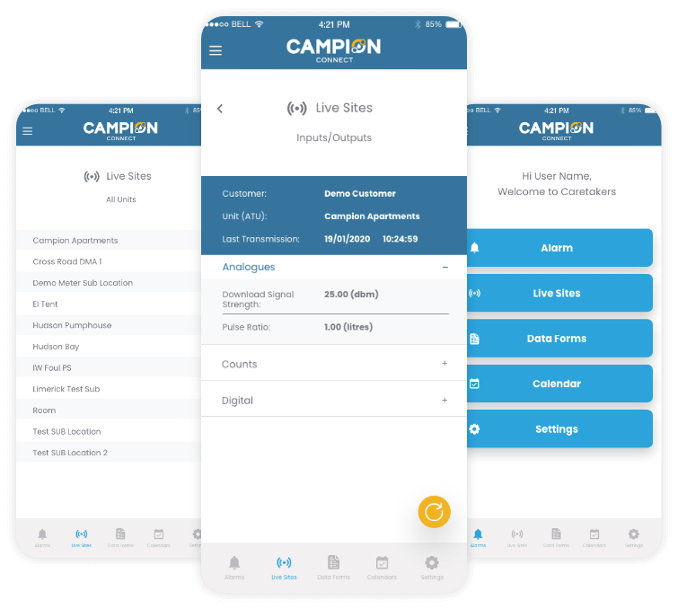Mobile app mockups of Campion Connect